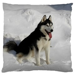 Siberian Husky Sitting in snow Large Flano Cushion Case (Two Sides)