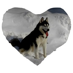 Siberian Husky Sitting in snow Large 19  Premium Flano Heart Shape Cushions