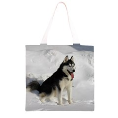Siberian Husky Sitting in snow Grocery Light Tote Bag