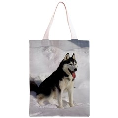 Siberian Husky Sitting in snow Classic Light Tote Bag