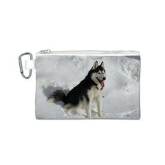 Siberian Husky Sitting in snow Canvas Cosmetic Bag (S)