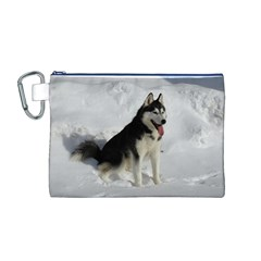 Siberian Husky Sitting in snow Canvas Cosmetic Bag (M)