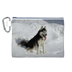 Siberian Husky Sitting in snow Canvas Cosmetic Bag (L)