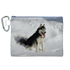 Siberian Husky Sitting in snow Canvas Cosmetic Bag (XL)