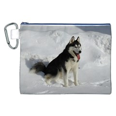 Siberian Husky Sitting in snow Canvas Cosmetic Bag (XXL)