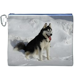 Siberian Husky Sitting in snow Canvas Cosmetic Bag (XXXL)