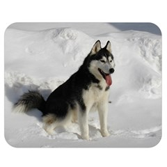 Siberian Husky Sitting in snow Double Sided Flano Blanket (Medium)