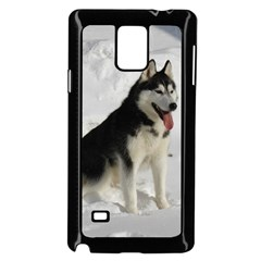 Siberian Husky Sitting in snow Samsung Galaxy Note 4 Case (Black)