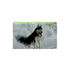 Siberian Husky Sitting in snow Cosmetic Bag (XS)