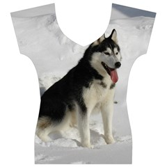 Siberian Husky Sitting in snow Women s V-Neck Cap Sleeve Top
