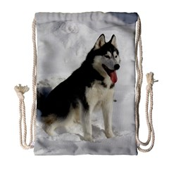 Siberian Husky Sitting in snow Drawstring Bag (Large)