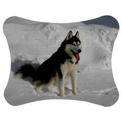 Siberian Husky Sitting in snow Jigsaw Puzzle Photo Stand (Bow)