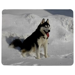 Siberian Husky Sitting in snow Jigsaw Puzzle Photo Stand (Rectangular)