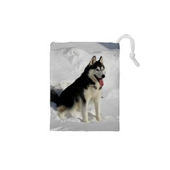 Siberian Husky Sitting in snow Drawstring Pouches (XS)