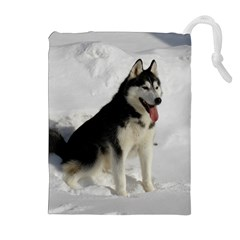 Siberian Husky Sitting in snow Drawstring Pouches (Extra Large)