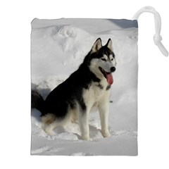 Siberian Husky Sitting in snow Drawstring Pouches (XXL)