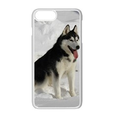 Siberian Husky Sitting in snow Apple iPhone 7 Plus White Seamless Case