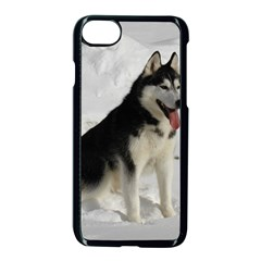 Siberian Husky Sitting in snow Apple iPhone 7 Seamless Case (Black)
