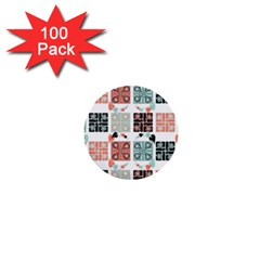 Mint Black Coral Heart Paisley 1  Mini Buttons (100 pack)