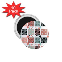 Mint Black Coral Heart Paisley 1.75  Magnets (10 pack)