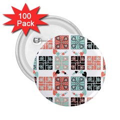 Mint Black Coral Heart Paisley 2.25  Buttons (100 pack)