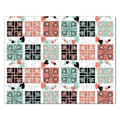 Mint Black Coral Heart Paisley Rectangular Jigsaw Puzzl