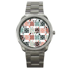 Mint Black Coral Heart Paisley Sport Metal Watch
