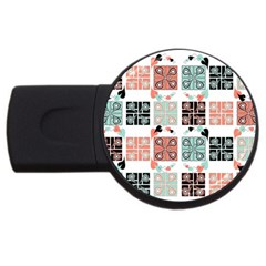 Mint Black Coral Heart Paisley USB Flash Drive Round (4 GB)