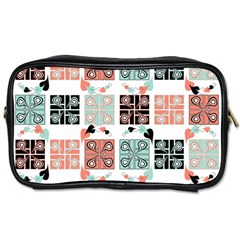 Mint Black Coral Heart Paisley Toiletries Bags 2-Side