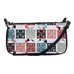 Mint Black Coral Heart Paisley Shoulder Clutch Bags