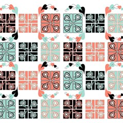 Mint Black Coral Heart Paisley Magic Photo Cubes