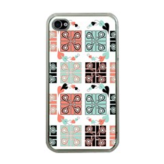 Mint Black Coral Heart Paisley Apple iPhone 4 Case (Clear)