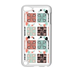 Mint Black Coral Heart Paisley Apple iPod Touch 5 Case (White)