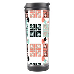 Mint Black Coral Heart Paisley Travel Tumbler