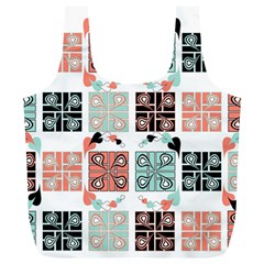 Mint Black Coral Heart Paisley Full Print Recycle Bags (L)