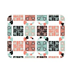 Mint Black Coral Heart Paisley Double Sided Flano Blanket (Mini)