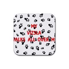 My Vizsla Walks On Me  Rubber Coaster (Square)