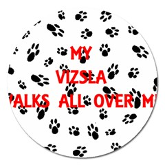 My Vizsla Walks On Me  Magnet 5  (Round)
