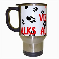 My Vizsla Walks On Me  Travel Mugs (White)