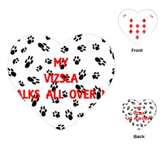 My Vizsla Walks On Me  Playing Cards (Heart)