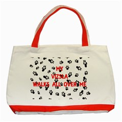 My Vizsla Walks On Me  Classic Tote Bag (Red)
