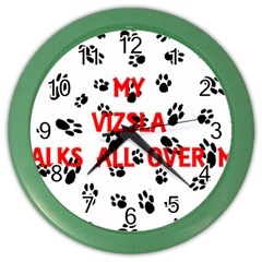 My Vizsla Walks On Me  Color Wall Clocks