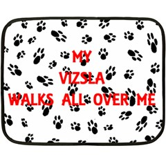 My Vizsla Walks On Me  Fleece Blanket (Mini)