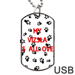 My Vizsla Walks On Me  Dog Tag USB Flash (Two Sides)