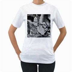 Mosaic Stones Glass Pattern Women s T-Shirt (White) (Two Sided)