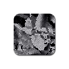 Mosaic Stones Glass Pattern Rubber Square Coaster (4 pack)