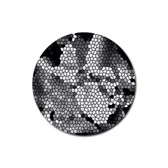 Mosaic Stones Glass Pattern Rubber Round Coaster (4 pack)