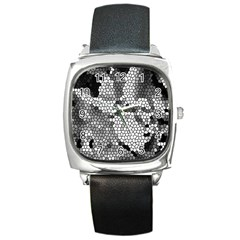 Mosaic Stones Glass Pattern Square Metal Watch