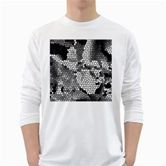 Mosaic Stones Glass Pattern White Long Sleeve T-Shirts