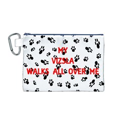 My Vizsla Walks On Me  Canvas Cosmetic Bag (M)
